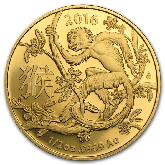 2016 Australia 1/2 oz Gold Lunar Year of the Monkey BU (RAM)