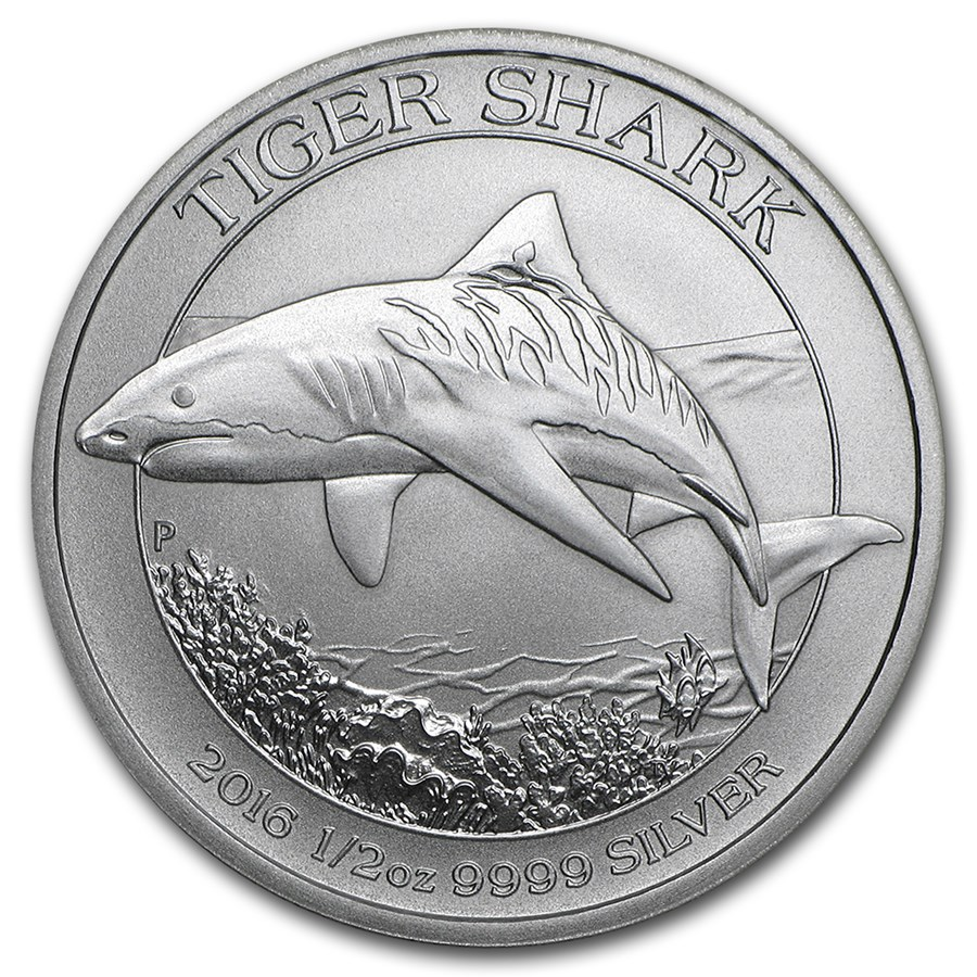 2016 Australia 1/2 oz Silver Tiger Shark BU