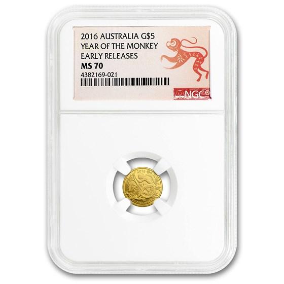 2016 Australia 1/20 oz Gold Lunar Year of Monkey MS-70 NGC (ER)