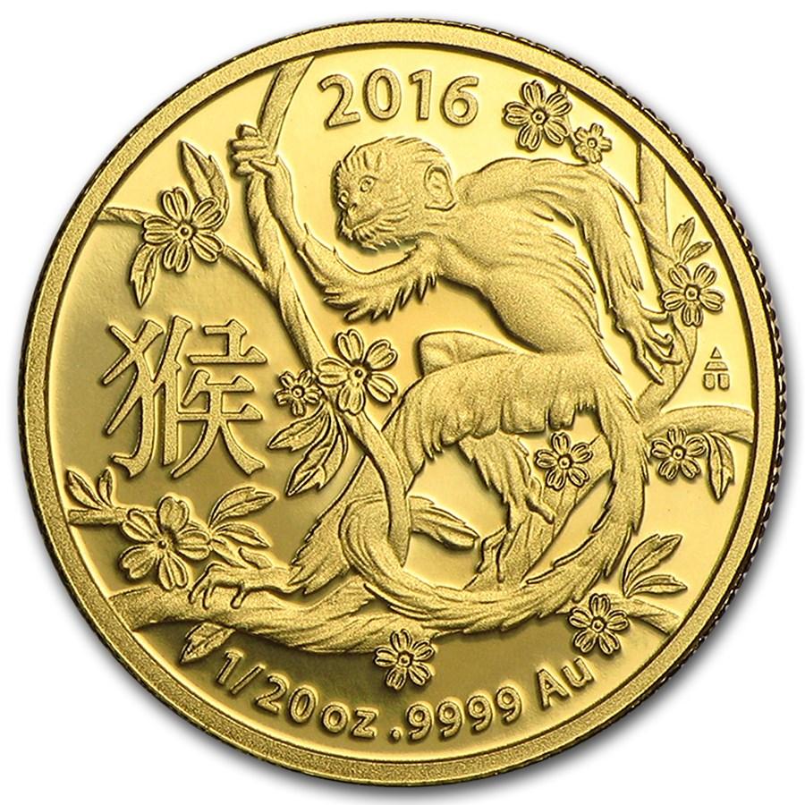 2016 Australia 1/20 oz Gold Lunar Year of the Monkey BU (RAM)