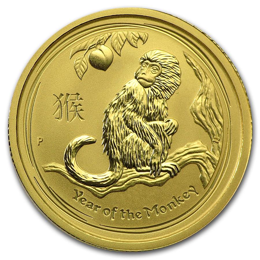 2016 Australia 1/4 oz Gold Lunar Monkey BU