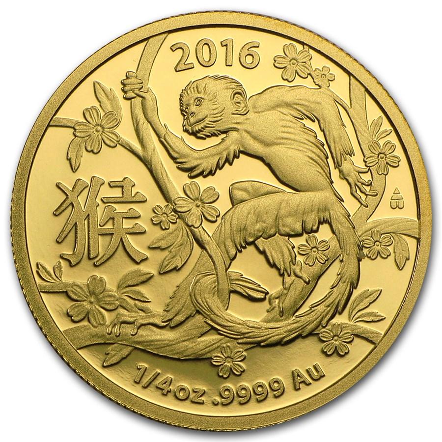 2016 Australia 1/4 oz Gold Lunar Year of the Monkey BU (RAM)