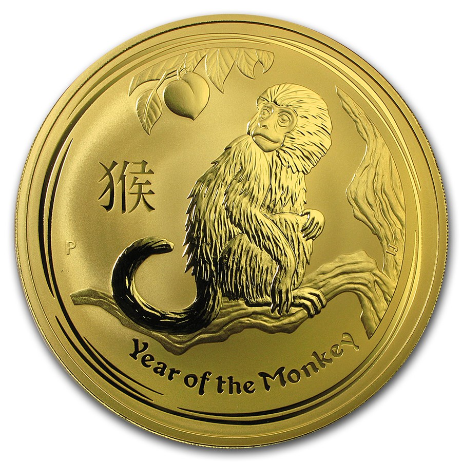 2016 Australia 1 kilo Gold Lunar Monkey BU