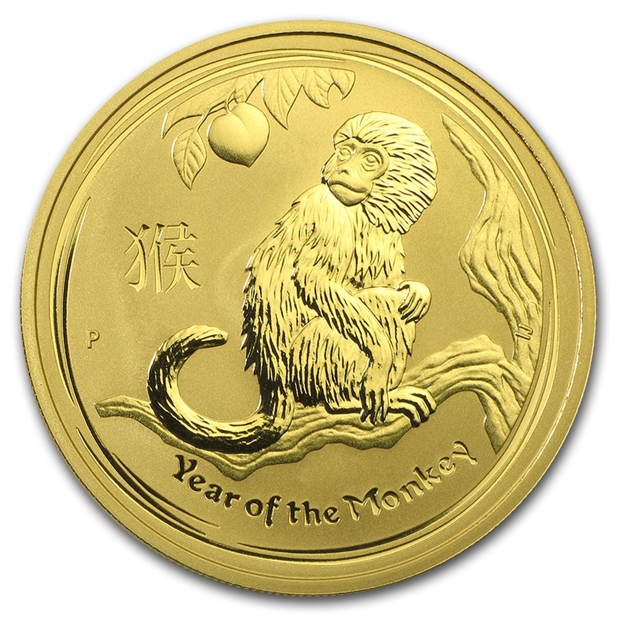 2016 Australia 1 oz Gold Lunar Monkey BU (Series II)
