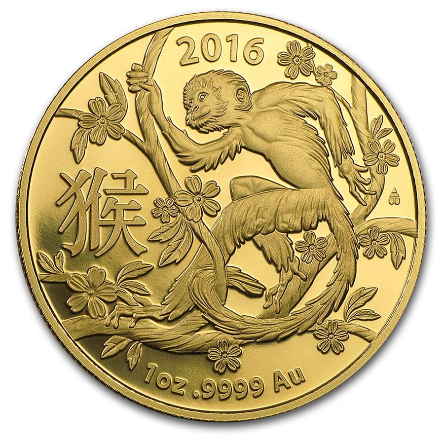 2016 Australia 1 oz Gold Lunar Year of the Monkey BU (RAM)