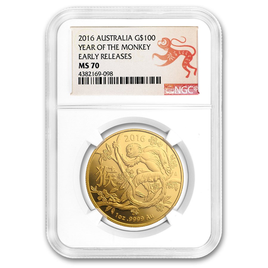 2016 Australia 1 oz Gold Lunar Year of the Monkey MS-70 NGC (ER)