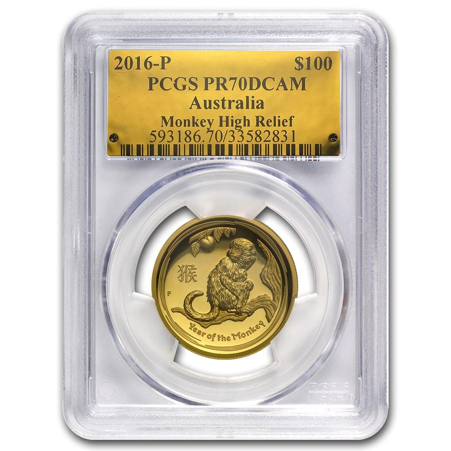 2016 Australia 1 oz Gold Monkey PR-70 PCGS (High Relief)