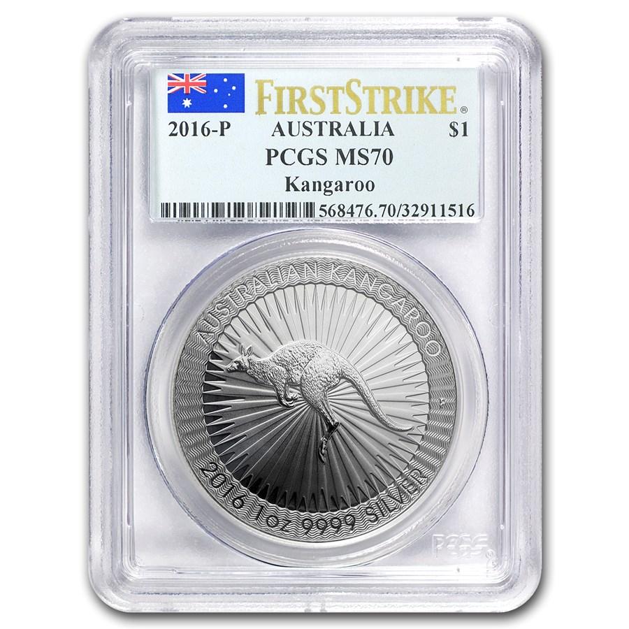 2016 Australia 1 oz Silver Kangaroo MS-70 PCGS (FirstStrike®)