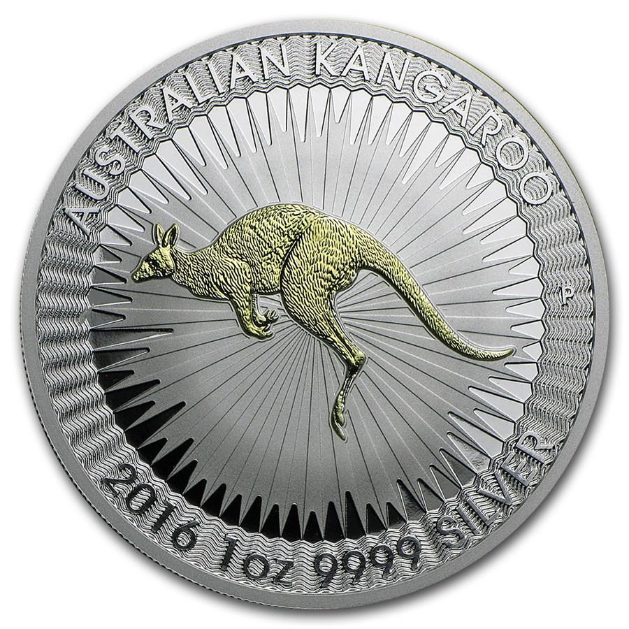 2016 Australia 1 oz Silver Kangaroo Proof (Gilded)