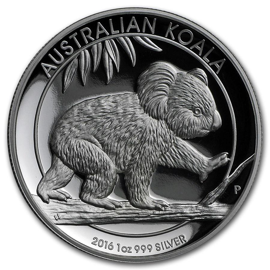 2016 Australia 1 oz Silver Koala Proof (High Relief, w/Box & COA)