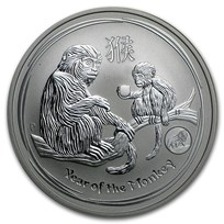2016 Australia 1 oz Silver Lunar Monkey BU (SII, Lion Privy)