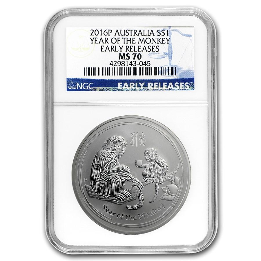 2016 Australia 1 oz Silver Lunar Monkey MS-70 NGC (Early Release)