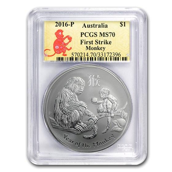 2016 Australia 1 oz Silver Lunar Monkey MS-70 PCGS (FirstStrike®)