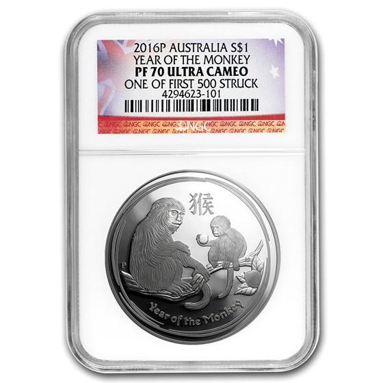 2016 Australia 1 oz Silver Lunar Monkey PF-70 NGC (1st of 500)
