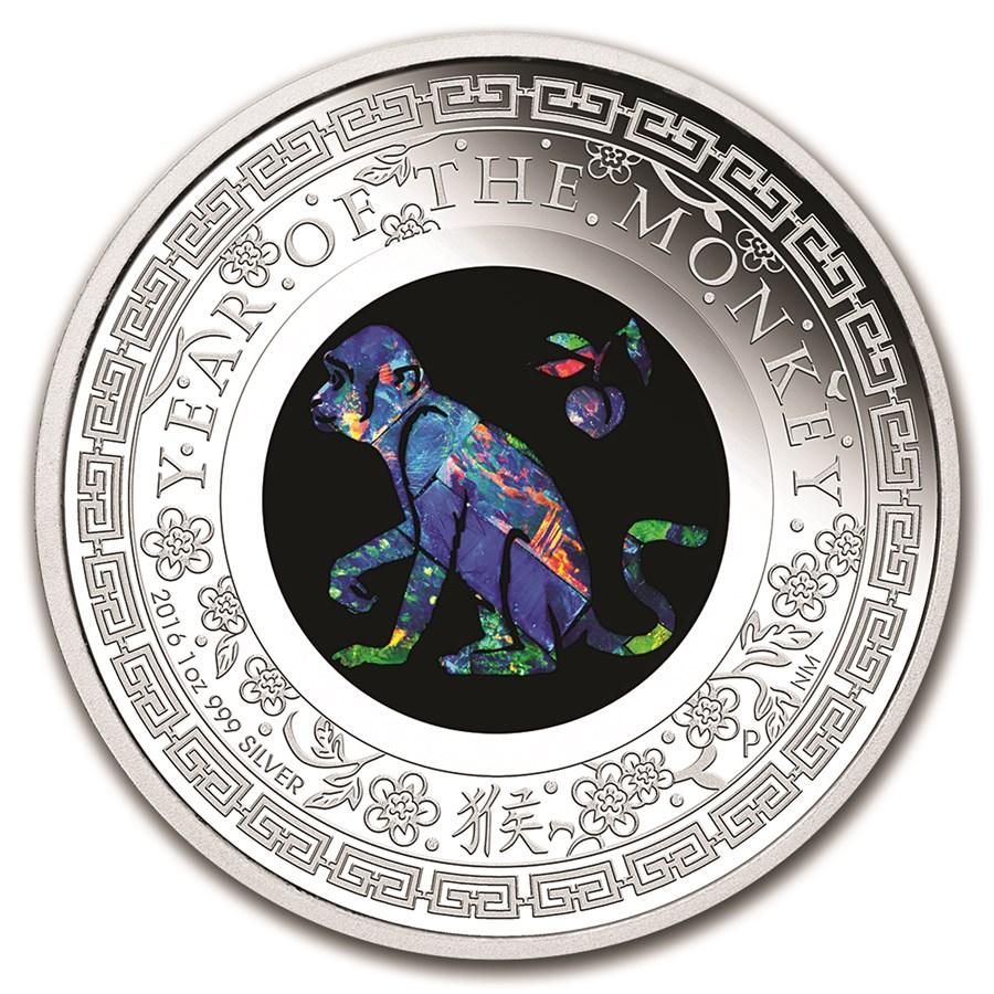 2016 Australia 1 oz Silver Opal Lunar Monkey Proof