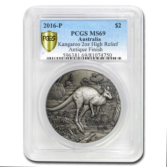 2016 Australia 2 oz Silver HR Kangaroo MS-69 PCGS (Antiqued)