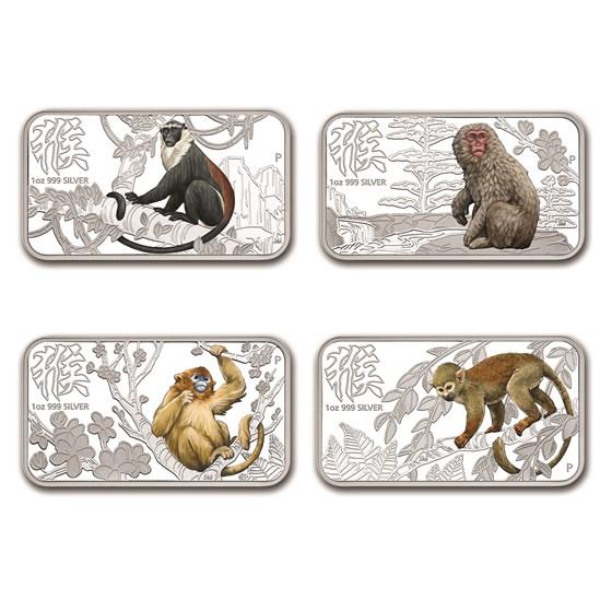 2016 Australia 4-Coin 1 oz Silver Lunar Monkey Proof Set (Rect)