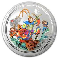 2016 Australia 5 oz Silver Lunar Monkey King Colorized BU