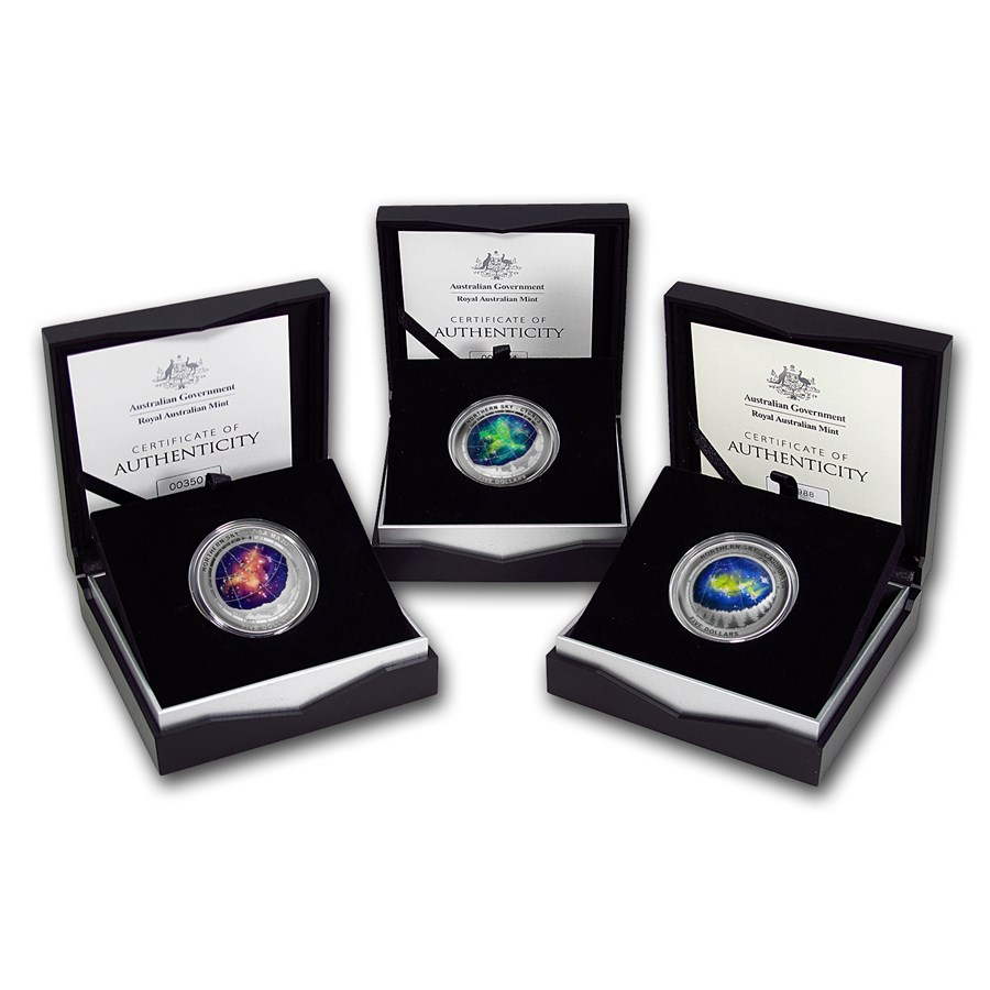 2016 Australia Silver $5 Color Domed Northern Sky 3-Coin Set