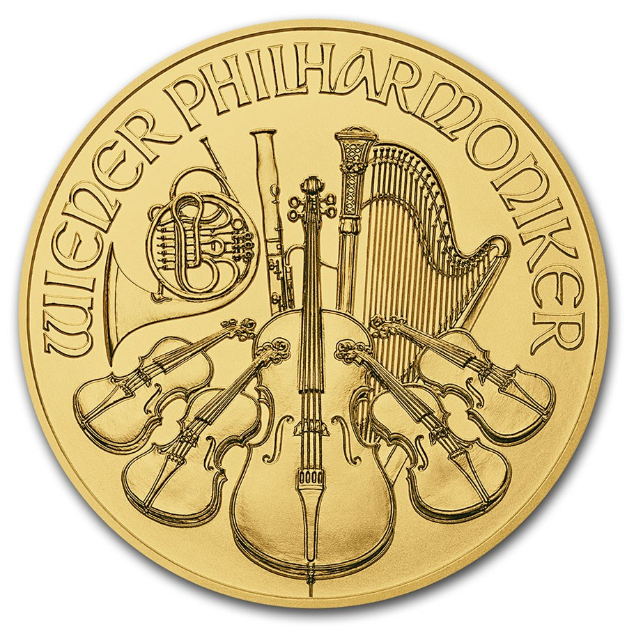2016 Austria 1/25 oz Gold Philharmonic BU