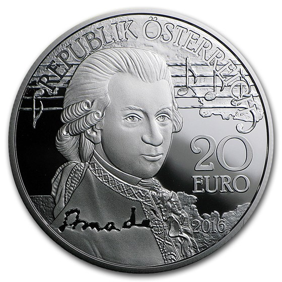 2016 Austria Proof Silver €20 Amadeus Mozart (The Genius)