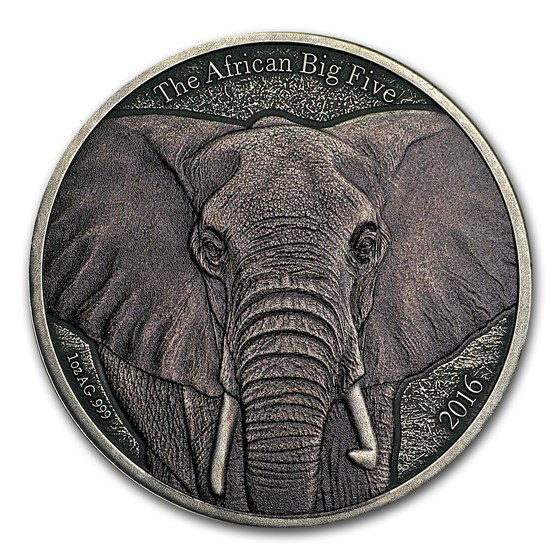 2016 Burkina Faso 1 oz Silver African Big Five (African Elephant)