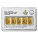 2016 Canada 1/10 oz Gold $25 5-Bar Set (In Assay)