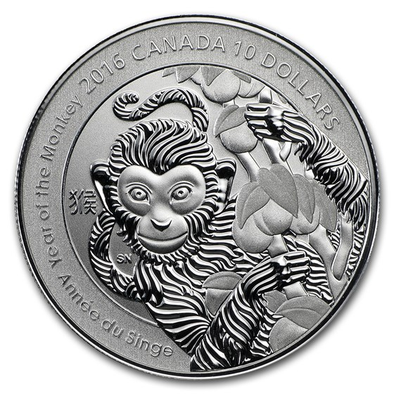 2016 Canada 1/2 oz Silver $10 Lunar Year of the Monkey Proof