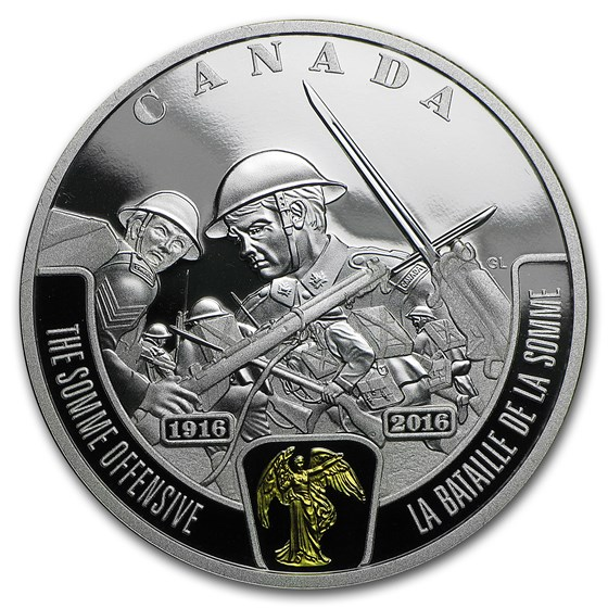 2016 Canada 1 oz Ag $20 WWI Battlefront Series Somme Offensive