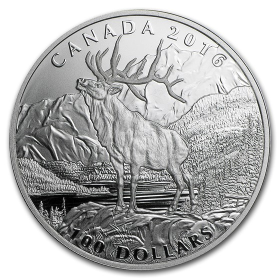 2016 Canada 1 oz Silver $100 for $100 (Noble Elk)