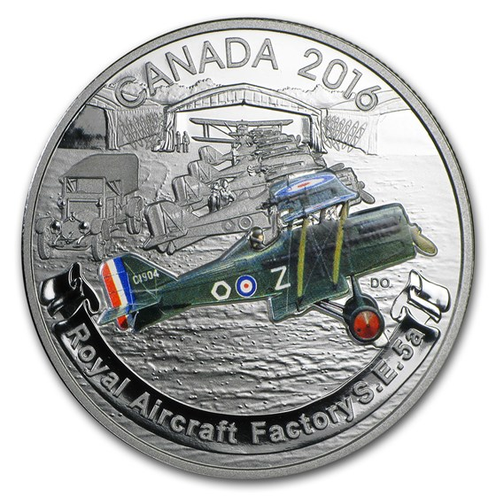 2016 Canada 1 oz Silver $20 Aircraft of WW1: Royal Factory S.E.5A