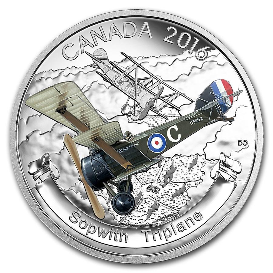 2016 Canada 1 oz Silver $20 Aircraft of WW1 Sopwith Triplane