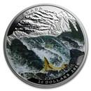 2016 Canada 1 oz Silver $20 Landscape Illusion: Salmon