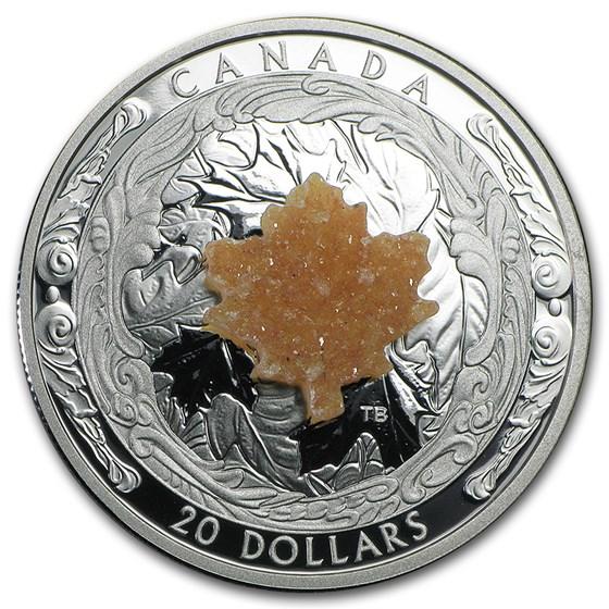 2016 Canada 1 oz Silver $20 Majestic Maple Leaves (w/Drusy Stone)