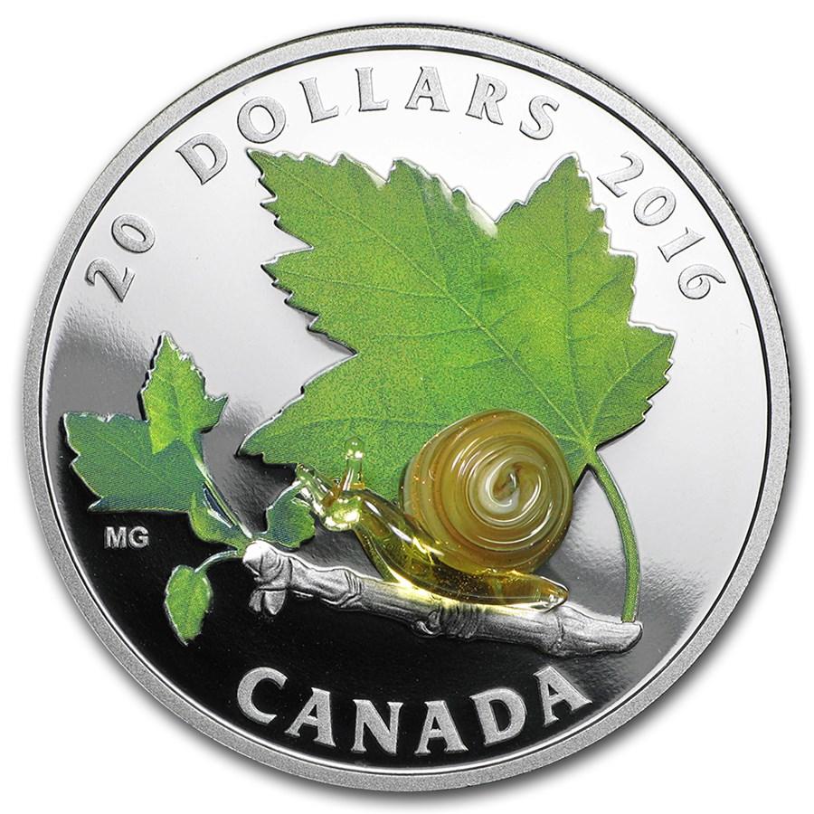 2016 Canada 1 oz Silver $20 Venetian Glass Creatures: Snail