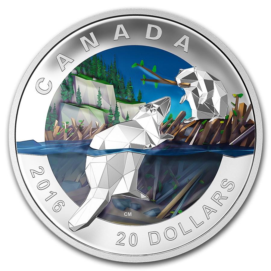 2016 Canada 1 oz Silver Geometry in Art: The Beaver