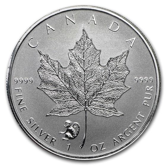 2016 Canada 1 oz Silver Maple Leaf Lunar Monkey Privy BU