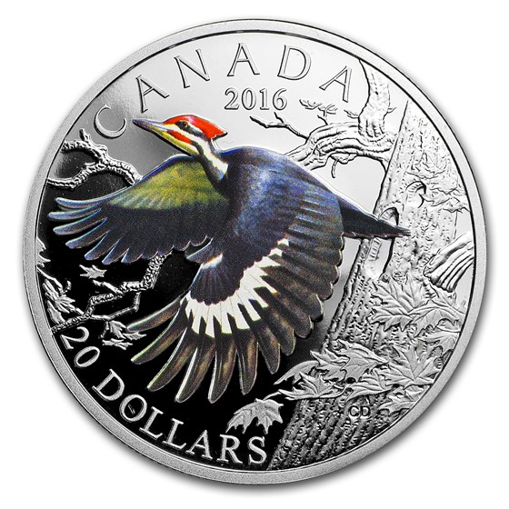 2016 Canada 1 oz Silver Migratory Birds (Pileated Woodpecker)