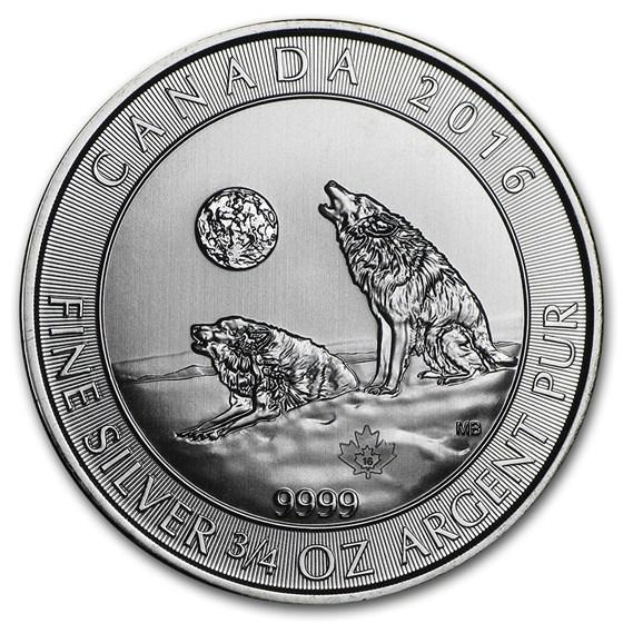2016 Canada 3/4 oz Silver Howling Wolves BU