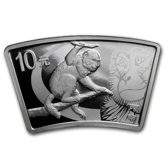 2016 China 1 oz Silver Monkey Proof Fan Coin (w/Box & COA)