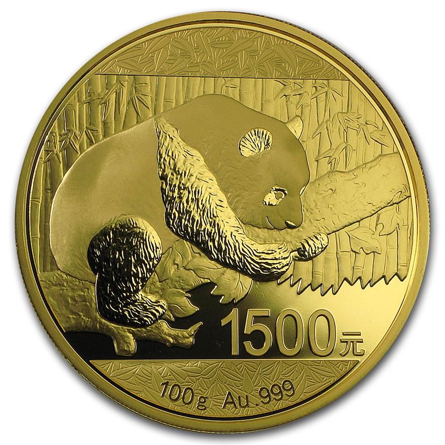 2016 China 100 gram Gold Panda Proof (w/Box & COA)