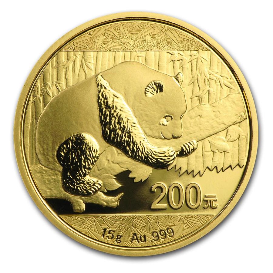 2016 China 15 gram Gold Panda BU (Sealed)