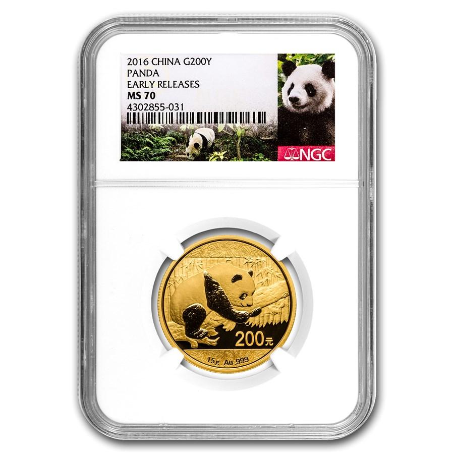 2016 China 15 Gram Gold Panda MS-70 NGC (ER)