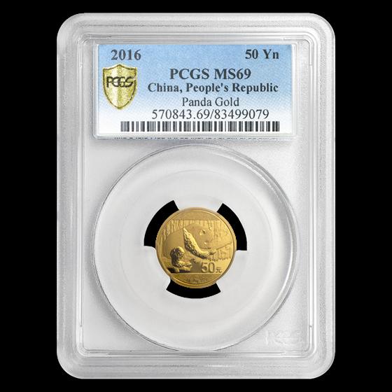 2016 China 3 gram Gold Panda MS-69 PCGS