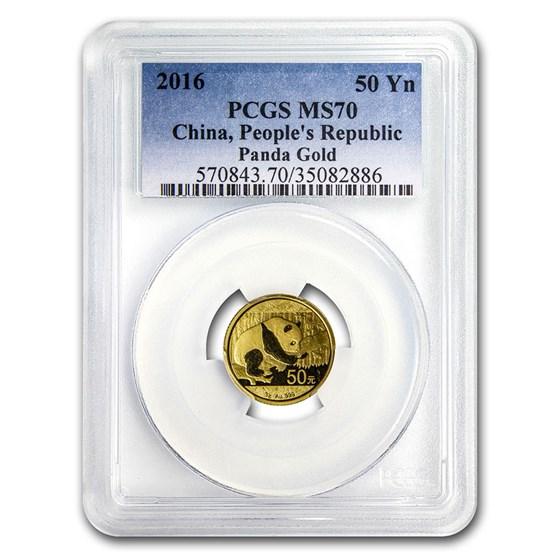 2016 China 3 gram Gold Panda MS-70 PCGS
