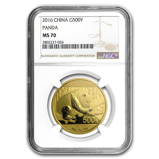 2016 China 30 Gram Gold Panda MS-70 NGC
