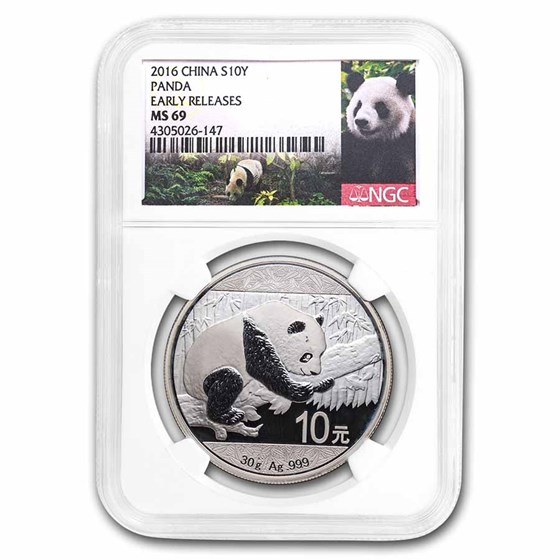 2016 China 30 gram Silver Panda MS-69 NGC (Early Releases)