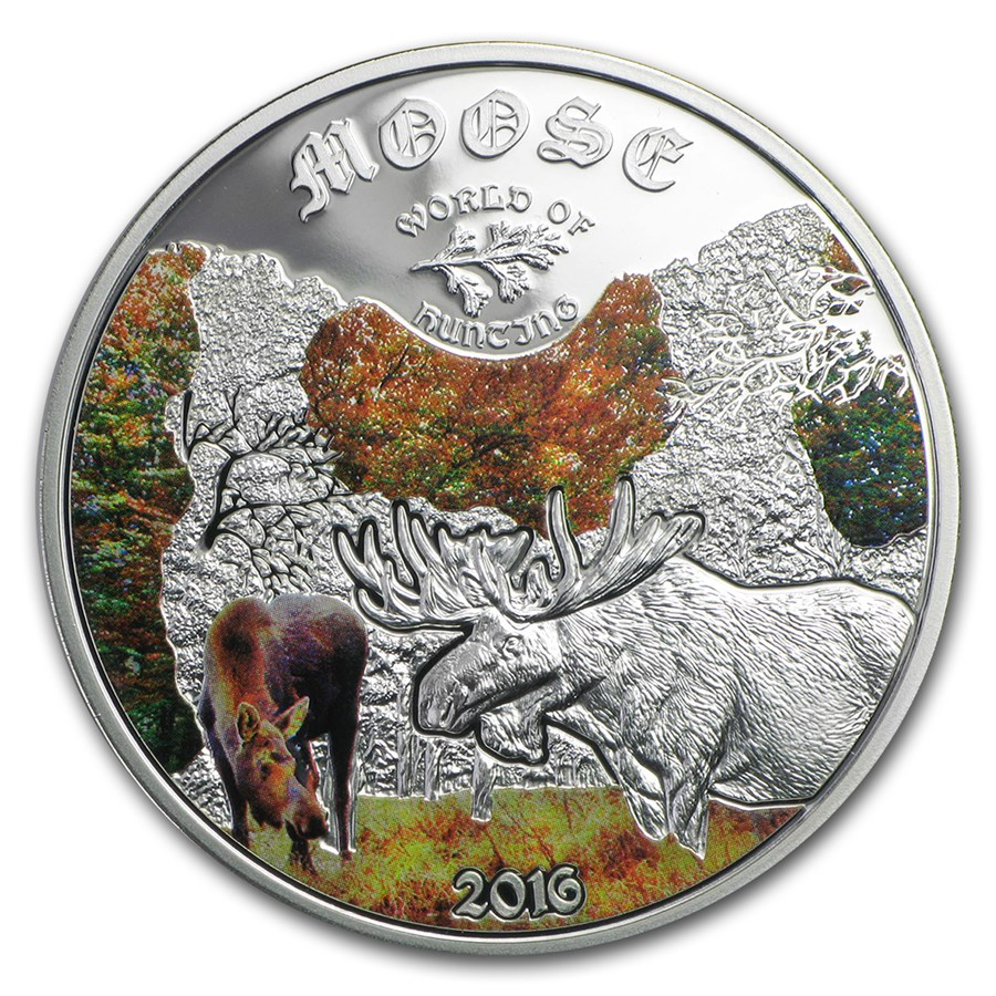 2016 Cook Islands 1/2 oz Silver World of Hunting Moose