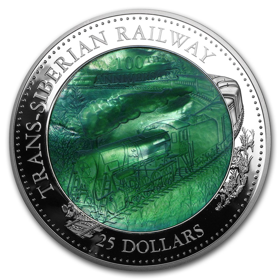 2016 Cook Islands 5 oz Ag Mother of Pearl Trans-Siberian Railway