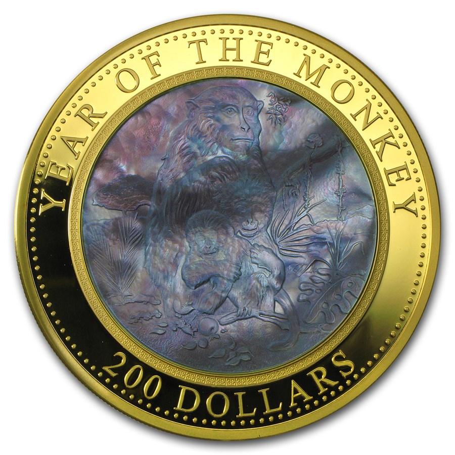 2016 Cook Islands 5 oz Gold Mother of Pearl Year of the Monkey